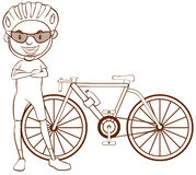 A plain sketch of a cyclist Royalty Free Stock Photo