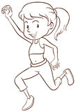 A plain sketch of a girl dancing Stock Image