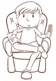 A plain sketch of a lazy man holding a remote control Royalty Free Stock Photo