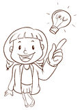A plain sketch of a smart girl Stock Image
