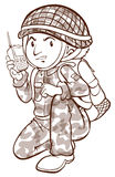 A plain sketch of a soldier Royalty Free Stock Images