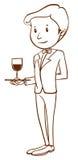 A plain sketch of a waiter Stock Photo