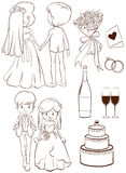 A plain sketch of a wedding ceremony. Illustration of a plain sketch of a wedding ceremony on a white background Royalty Free Stock Photography