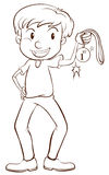 A plain sketch of a winner holding a medal Royalty Free Stock Photo