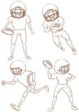 Plain sketches of the American football players Stock Photography
