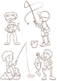 Plain sketches of the boys fishing Stock Image