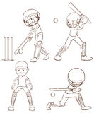 Plain sketches of the cricket players Stock Image