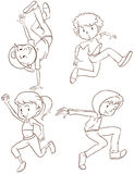Plain sketches of the hiphop dancers. Illustration of the plain sketches of the hiphop dancers on a white background stock illustration