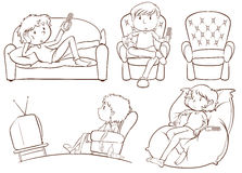 Plain sketches of the lazy people Stock Image