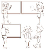 Plain sketches of the teachers in the classroom Royalty Free Stock Photography