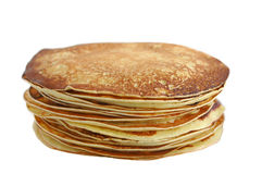 Plain stack of pancakes. Large stack of golden pancakes Stock Photo