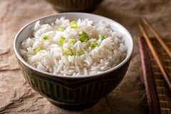 Plain Steamed Rice. A bowl of delicious plain steamed rice with scallion garnish stock image