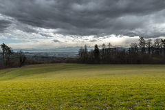 Plain before storm and view of the alps. From the canton of Neuchâtel & x28;Switzerland& x29 Stock Photos