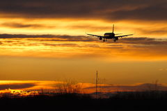 Plain. Sunset orange yellow landing Royalty Free Stock Images