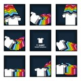 Plain t-shirt display on navy blue background artwork vector template vector illustration