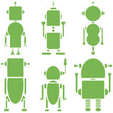 Plain Vintage retro robots 2 icons set in green  set of 6. Graphic Stock Photography