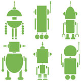 Plain Vintage retro robots 2 icons set in green  set of 6  ( set A). Graphic Stock Photos