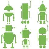 Plain Vintage retro robots 2 icons set in green  set of 6  ( set A) Stock Photos