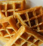 Plain waffles served on plate for breakfast close up top photo Royalty Free Stock Photo