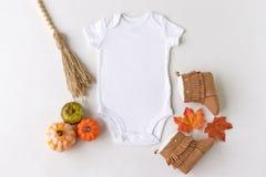 Plain white baby bodysuit vest mockup