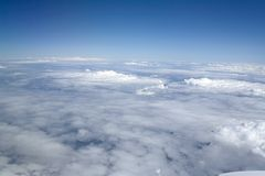 Plain of white clouds below Stock Image