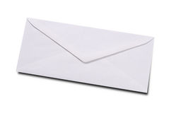 Plain white envelope. Isolated over white with a clipping path royalty free stock photography
