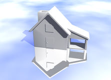 Plain White House Model Starter Home. Plain White House Model on Blue-Sky Background with Reflection Concept Start Home or New Buyer Royalty Free Stock Image