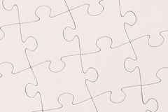 Plain White Jigsaw Puzzle. Blank plain white jigsaw puzzle completed Stock Photography