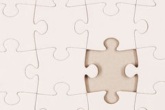 Plain White Jigsaw Puzzle 2. Plain White Jigsaw Puzzle with piece missing Royalty Free Stock Photography