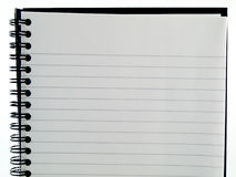 Plain White Lined Ringbound Notebook Page of paper. On White Background royalty free stock images