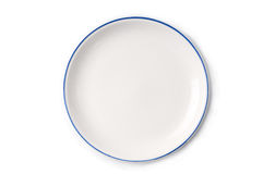 Plain white Plate from top Stock Photos