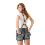 Plain White T-Shirt and shorts. Timeless fashion with plain White T-Shirt ready for your Logo or Text royalty free stock photography