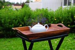 Plain White Teapot on Garden Table Stock Photography
