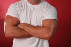 Plain white tee on crimson. Muscular male model in a white tee shirt sleaves rolled up and his arms are crossed Royalty Free Stock Photos