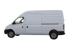 Plain white van. Delivery van isolated on a white background with clipping path Stock Image