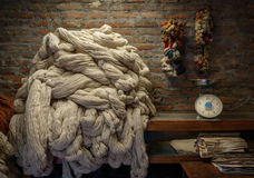 Plain wool in a rug factory Stock Photos