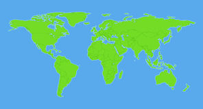 Plain world map with countries Royalty Free Stock Photo