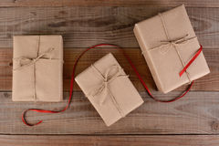 Plain Wrapped Christmas Presents Stock Images