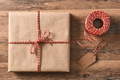 Plain Wrapped Present and String Royalty Free Stock Image