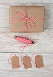 Plain Wrapped Present String and Tags Stock Photos