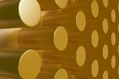 Plain yellow surface with cylinders Royalty Free Stock Images