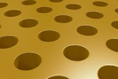 Plain yellow surface with cylindrical holes. Abstract background. 3D rendering illustration Royalty Free Stock Photos