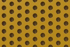Plain yellow surface with cylindrical holes. Abstract background. 3D rendering illustration Stock Photos