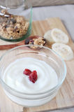 Plain yogurt with dried strawberry on top Stock Photography