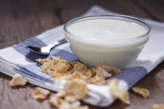 Plain yogurt in small glass bowl Royalty Free Stock Photography