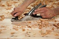 Plaina de madeira à mão Foto de Stock Royalty Free