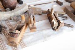 Plainas de madeira velhas da carpintaria Fotografia de Stock