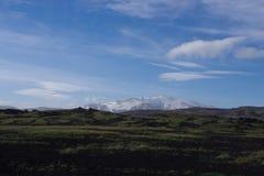 Plaine de l'Islande de cendre noire où l'herbe pousse image stock