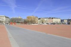 Plaine de Plainpalais square Geneva Switzerland. Where the flea market is held Stock Images