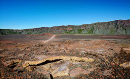 Plaine des Sables. Plaine des Sables, sandy plain,  on Reunion Island  with lava tunnel in the foreground Royalty Free Stock Image